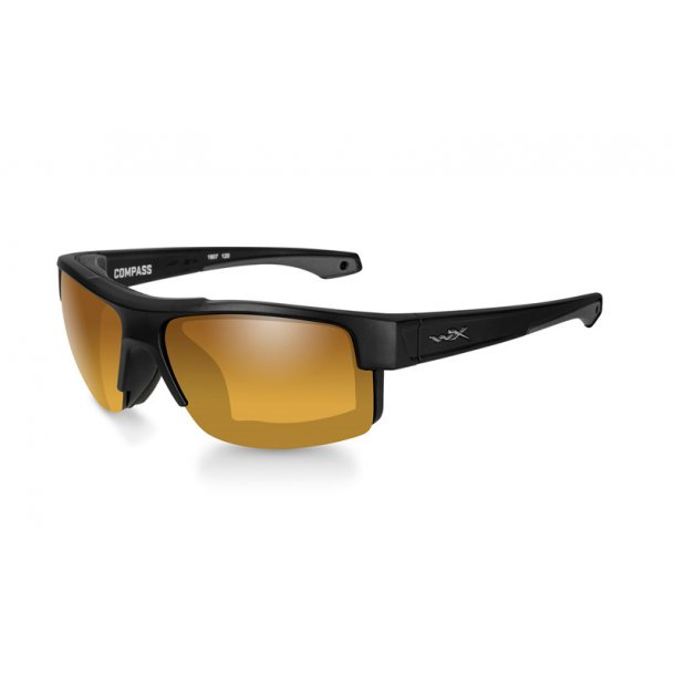 Wiley-X COMPASS Pol Amber Gold Mirror Matte Black Frame Solbrille